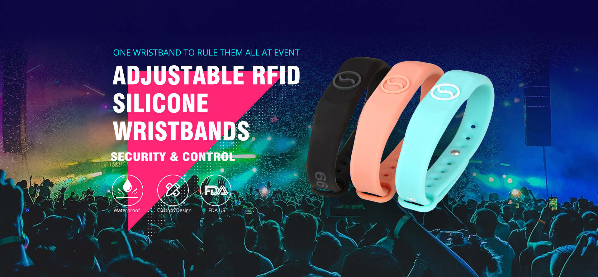 Adjustable Waterproof RFID Silicone Wristband