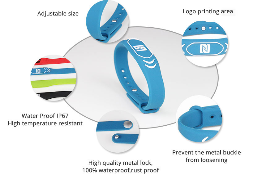 Colorful Silicone Wristband RFID Tag For GYM Details