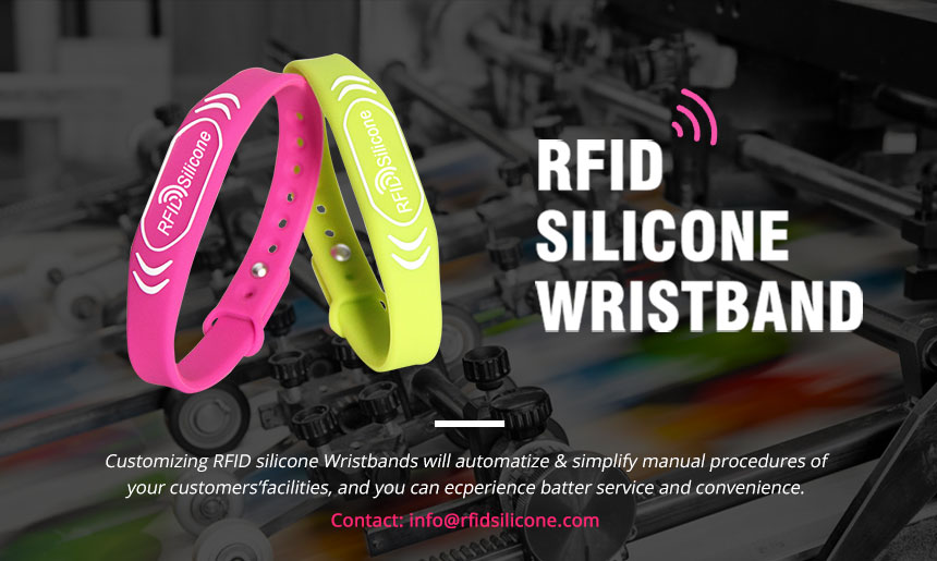 Rose red color NFC 13.56 MHz RFID Wristband