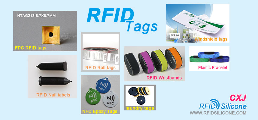 Collection of CXJ RFIDSilicone' s RFID tag products