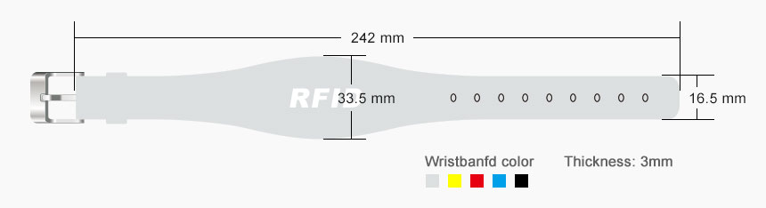 Silicone RFID Chip Wristband RS-AW039 Size