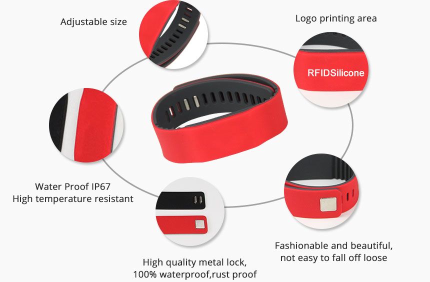 RS-AW022 UHF HF LF Silicone RFID Bracelets For Events Details