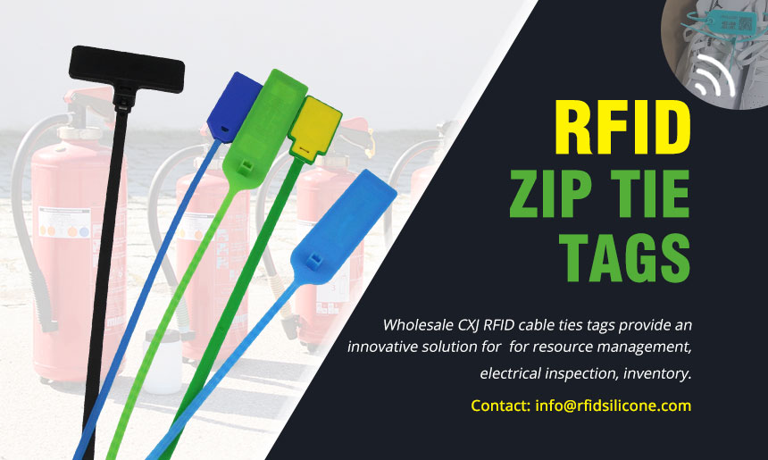 CXJ RFID industrial zip ties UHF cable tie tag for asset tracking, gas cylinder & waste bin management