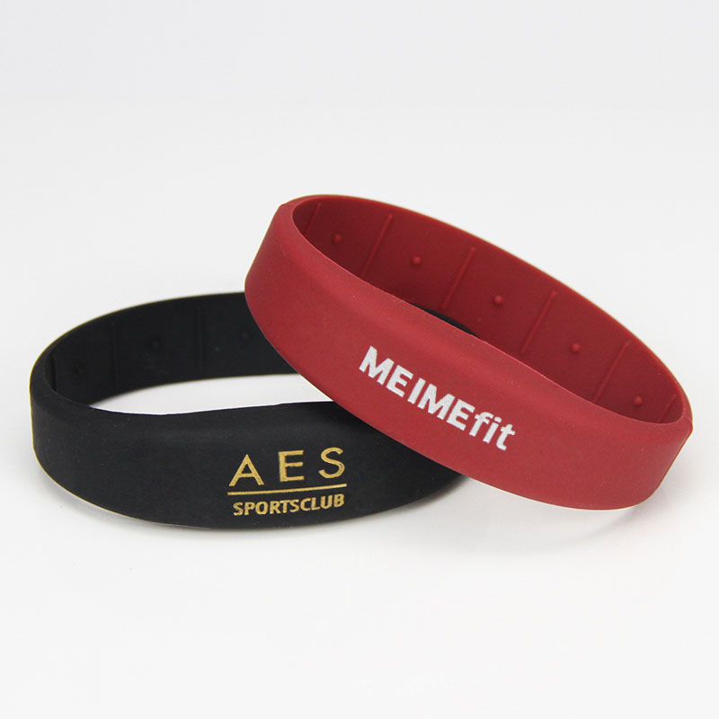 Gold Silver Laser Color In Rubber RFID NFC Athletic Wristbands