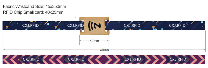Size of RS-FW001 NFC Wooden Slider Printed RFID Fabric Wristbands