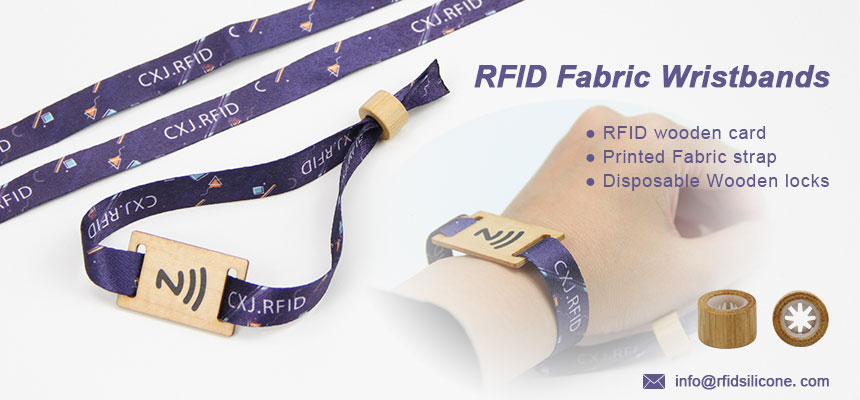 RFID Fabric Wristbands with Wooden Card Slider